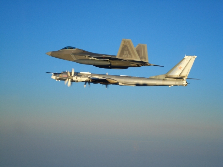 F-22 Raptor and Russian bomber