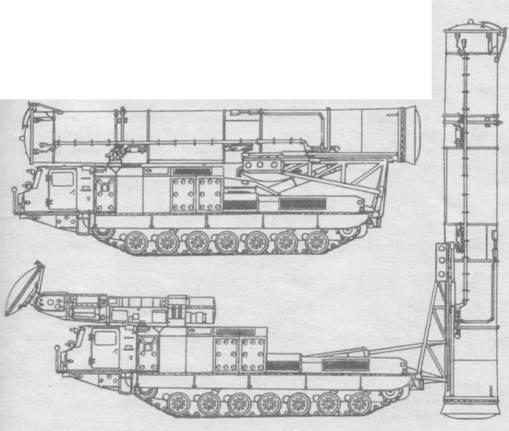Пусковая установка 9А82 комплекса С-300В в боевом положении и ее схемы в походном и боевом положениях